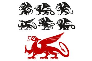 Griffin and dragon heraldic icons