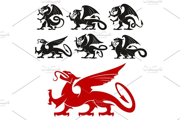 Dragon Heraldry: Griffin And Dragon Heraldic Icons