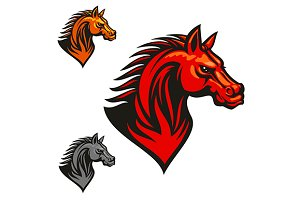 Red horse stallion head