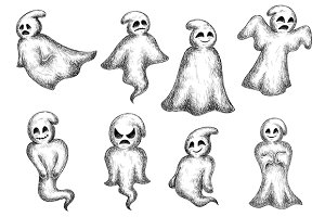 Halloween funny cartoon ghosts