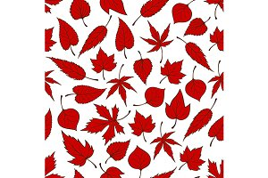 Red autumn leaves seamless pattern