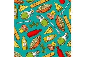 Italian cuisine seamless pattern