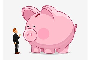 Businessman with large piggy bank