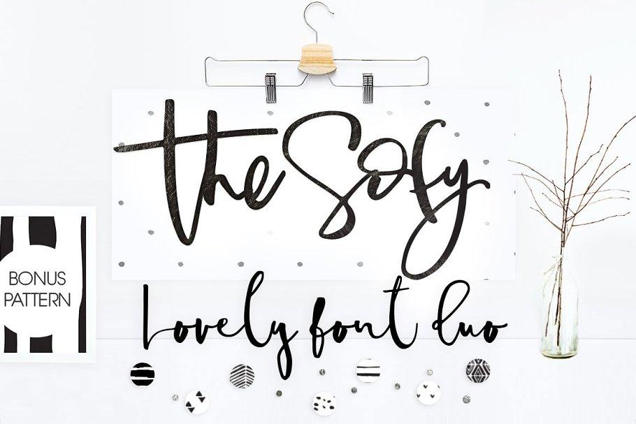 The Sofy Font Duo +Pattern+Freebie ~ Script Fonts ~ Creative