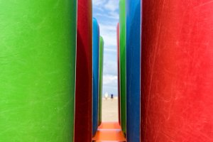Inflatable structures on the beach