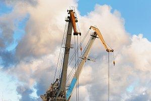 Orange forklift and crane