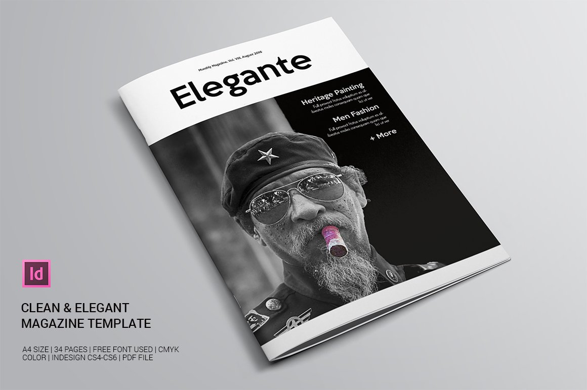 clean elegant magazine template magazine templates creative market. Black Bedroom Furniture Sets. Home Design Ideas