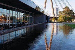 Cable-stayed bridge with reflection