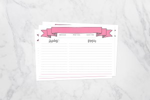 Pink Banner Recipe Cards 4x6 Fill in