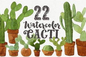22 Watercolor Cacti