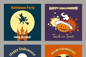 Halloween party scary flat posters