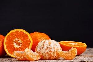 Ripe mandarin citrus isolated tangerine mandarine orange on white background.