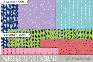 Dashes & Dots 12x12 Doodle Overlays
