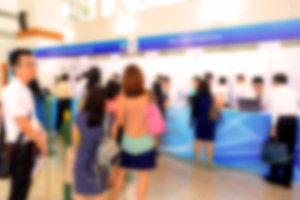 blurred of people shopping in hall