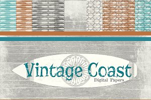 Vintage Coast Beach Background Paper