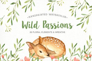 Wild Passions Watercolor Cliparts