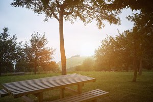 Picnic table at sunset