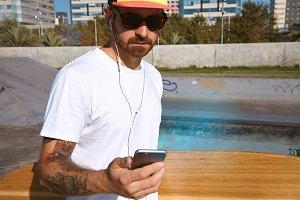 Urban longboarding in concrete skatepark