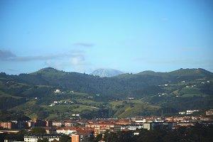 Mountains over a coastal town