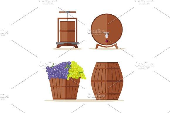 Wine barrels set. Basket with grape - Illustrations