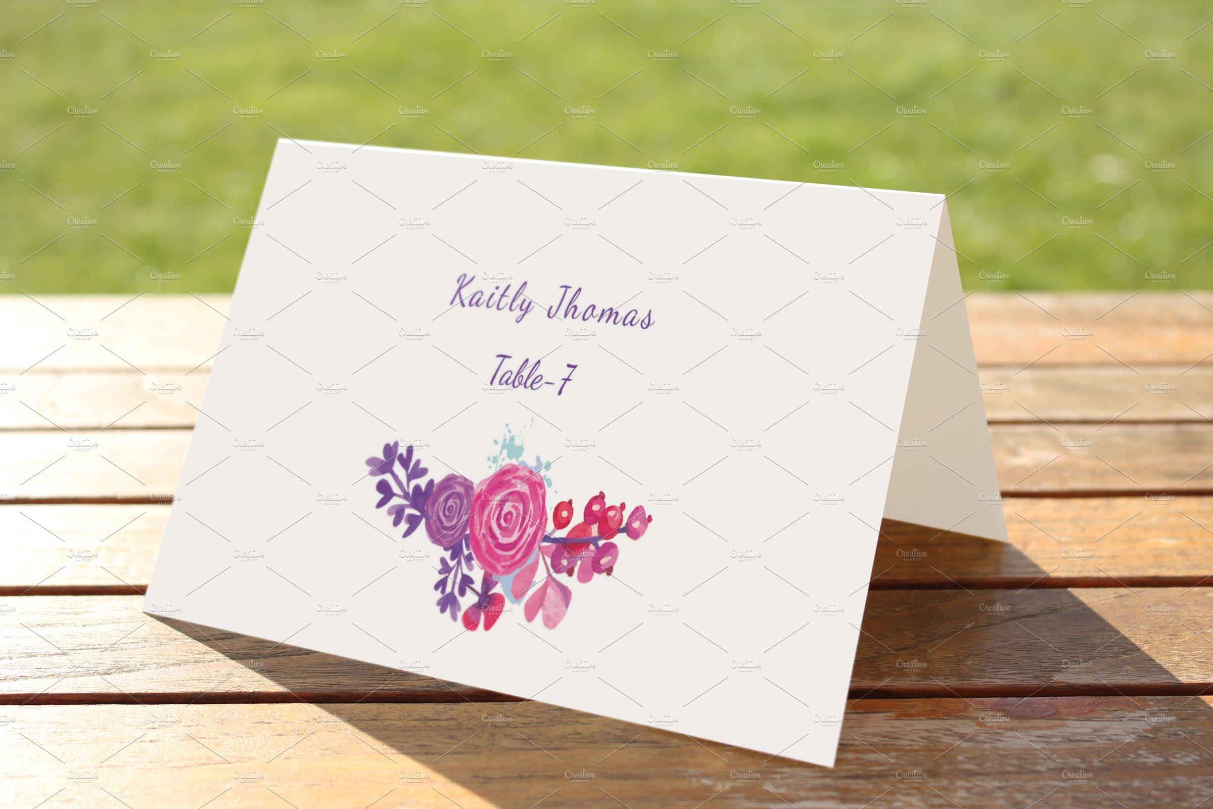 Wedding Place Card Template ~ Card Templates ~ Creative Market