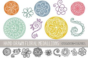 Floral Medallions Clipart & Brushes