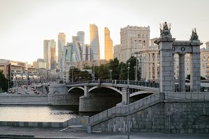 Landscape of Moscow in golden sunset lights, Russia