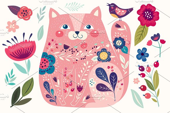 CAT & Flowers. Collection №3 - Illustrations
