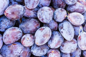 Prune plums at the market