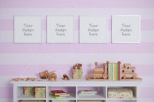 Baby room mockups set of 4 frame