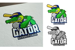 BASEBALL GATOR CARTOON LOGO