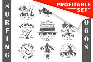 18 Surfing Logos Templates