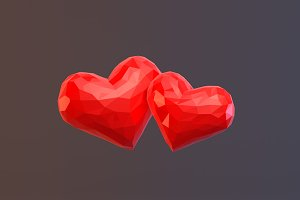 Low Poly Hearts
