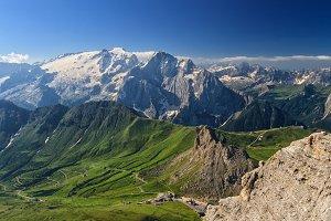 Dolomiti - Pordoi pass and mt Marmolada