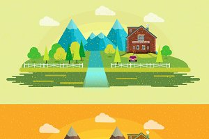 Nature Landscape Flat Design