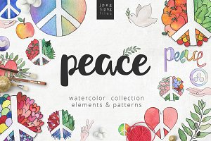World peace day watercolor set
