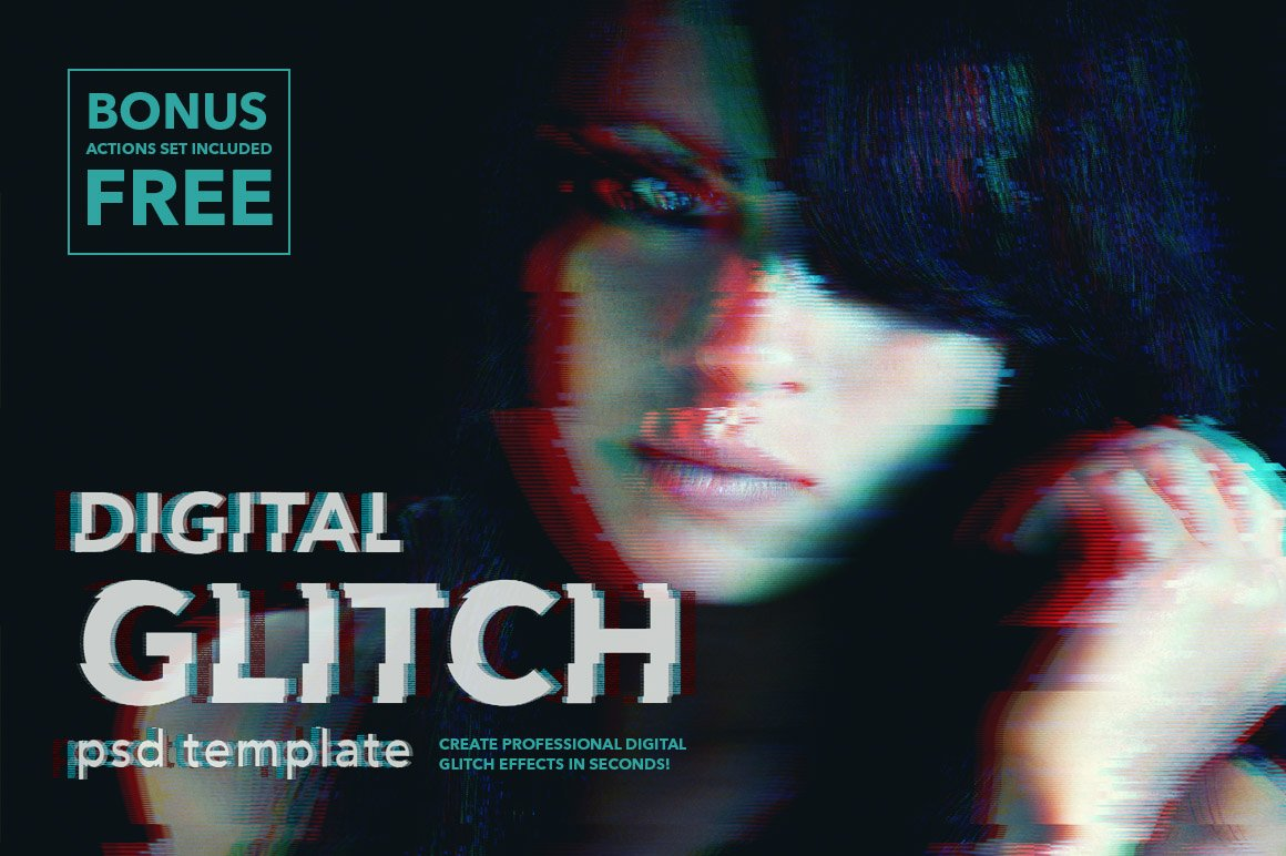 Digital Glitch Effect Psd Templates Photoshop Add Ons