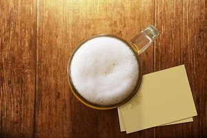 Glass of Beer with Blank Paper Note