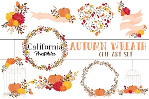 Autumn Fall Wreaths Clip Art Set