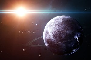 Neptune - High resolution 3D images presents planets of the solar system. This image elements furnished by NASA.