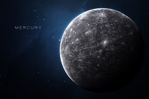 Mercury - High resolution 3D images presents planets of the solar system. This image elements furnished by NASA
