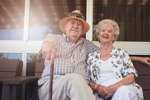 Loving retired couple relaxing