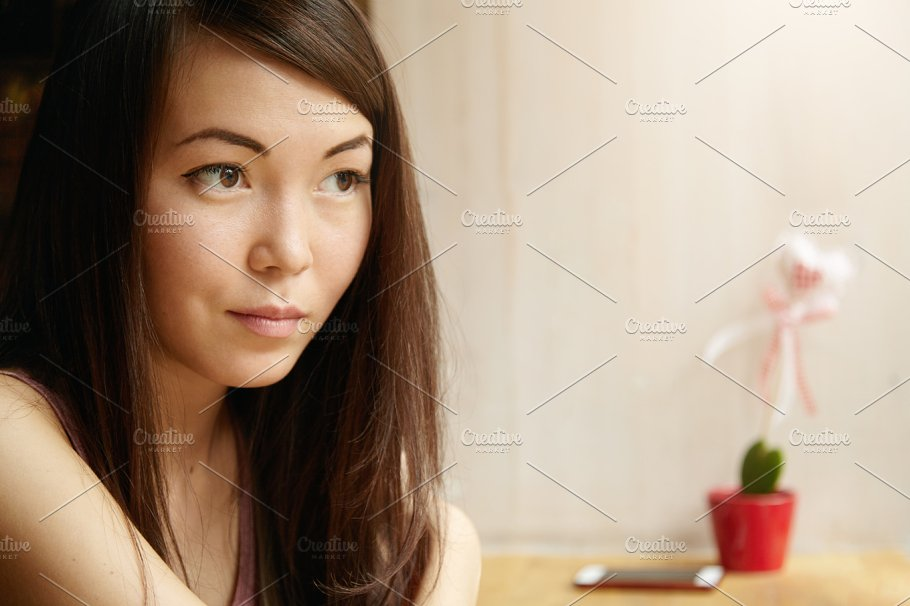 Half Profile Portrait Of Beautiful Tender Slim Asian Woman With