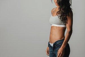 Slender muscular woman