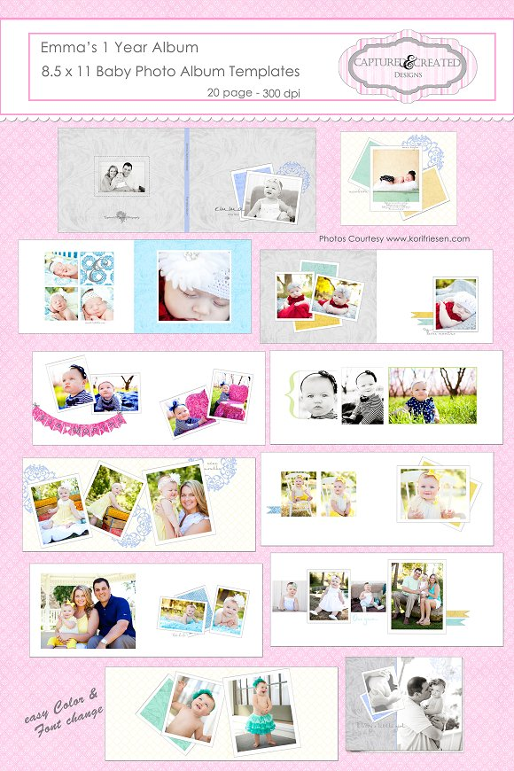 Emma's One Year Album 8.5 x 11 Baby - Presentations