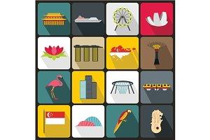 Singapore icons set, flat style
