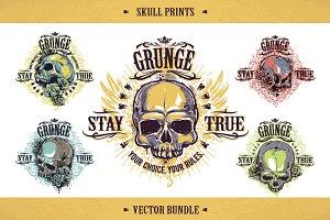 5 Grunge Prints with Skulls