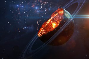Apocalyptic background - planet exploding, armageddon illustration, end of time. Elements of this image furnished by NASA