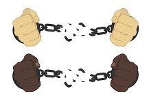 Man hands breaking handcuffs. Vector