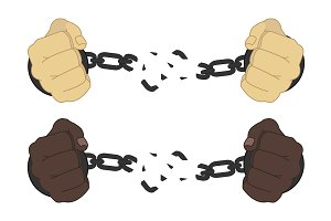 Man hands breaking handcuffs. Vector